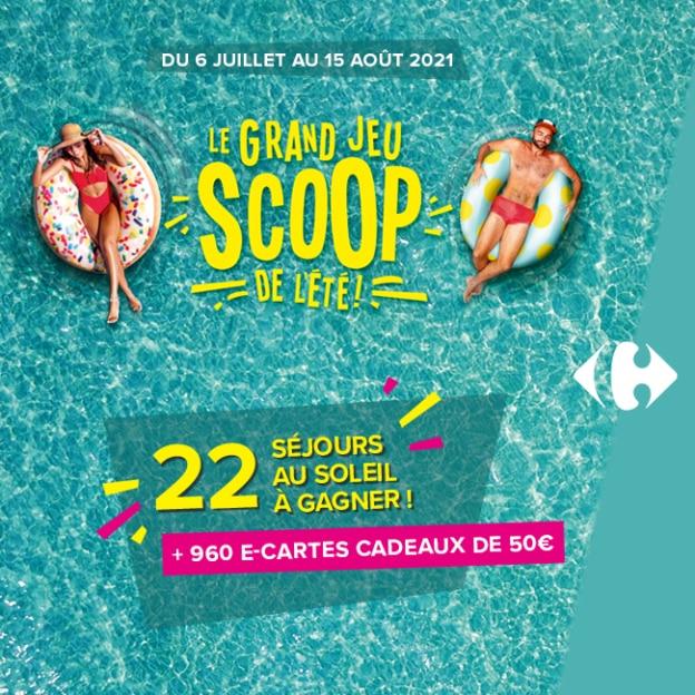 Grand jeu Scoop de l'été Carrefour : séjours et cartes cadeaux à gagner