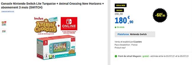 Pack Nintendo Switch + Animal Crossing + 3 mois d'abonnement en soldes