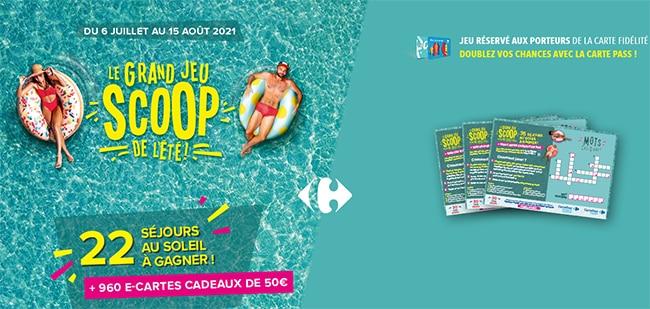 Tentez de gagner un séjour ou une e-carte cadeau avec Carrefour Scoop