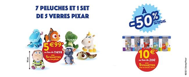 Peluches et verres Pixar à collectionner chez Cora