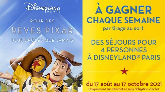 Tentez de remporter un séjour à Disneyland sur www.jeux.cora.fr/collector-pixar