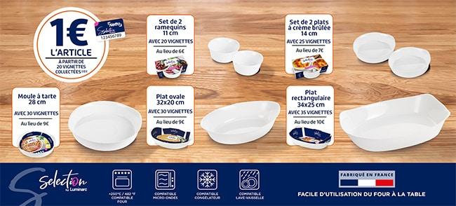 Collection de plats Luminarc moins chère avec les autocollants offerts