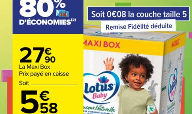 Carrefour : Remise fidélité sur la Maxi Box de couches Lotus