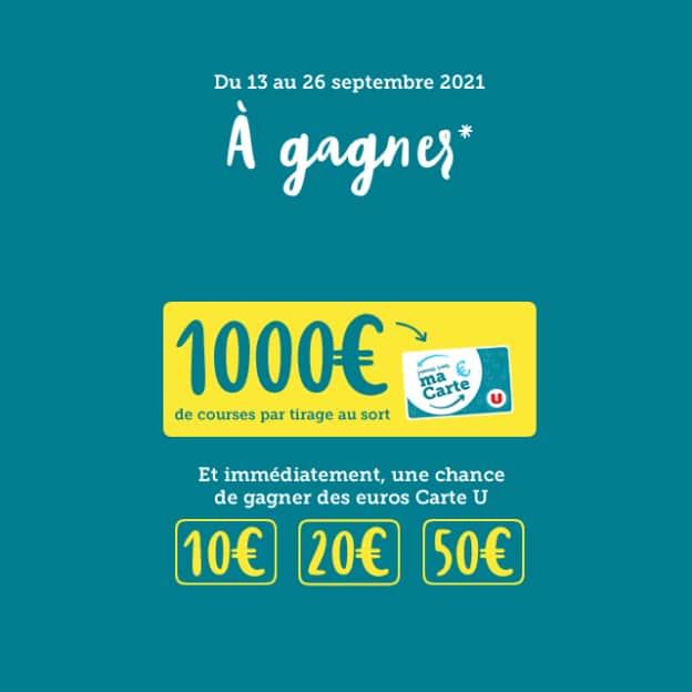 Grand Jeu Carte U : cadeaux en euros à gagner