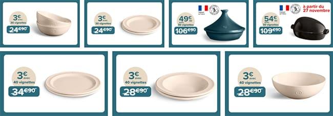 Bols, assiettes, saladiers et plats de cuisson dès 3€ avec les vignettes offertes