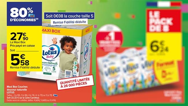 Maxi Box de couches Lotus Baby moins chère avec la remise fidélité chez Carrefour