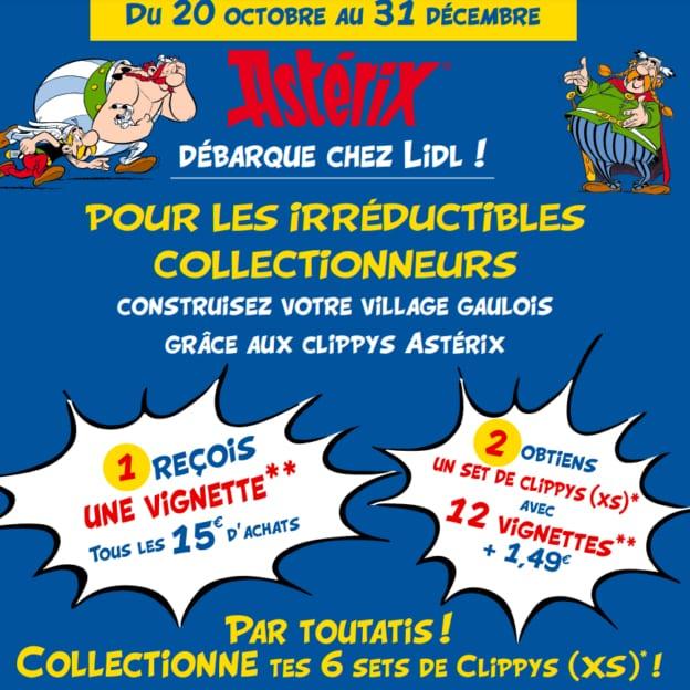 Vignettes Lidl Astérix : Sets de Clippys pas chers