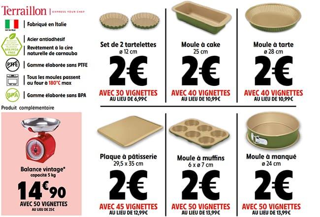 balance vintage à moindres frais et les Moules Terraillon à 2€ avec les vignettes à collectionner chez Intermarché